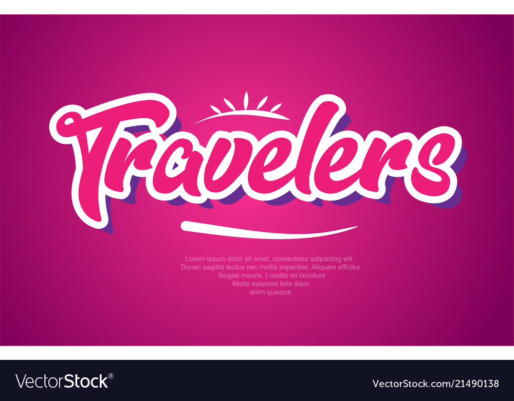 travelers word text typography pink design icon vector image