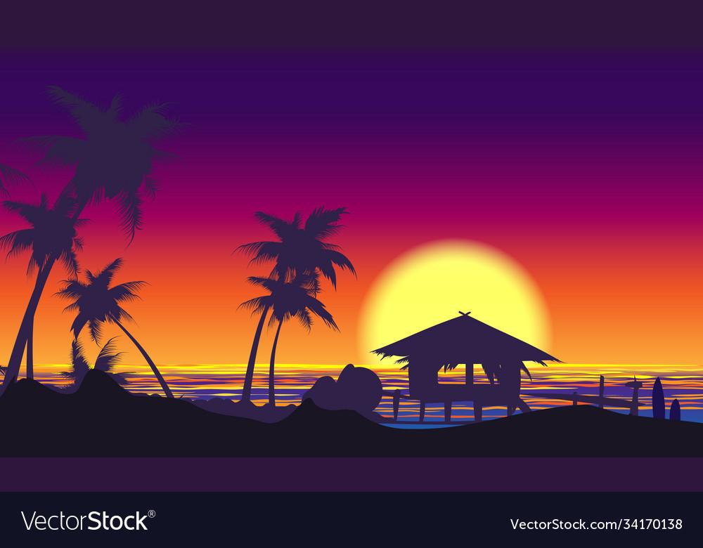 Tropical palm tree seaside sunset landscape