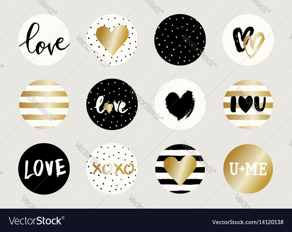 Valentine39s day sticker designs vector image
