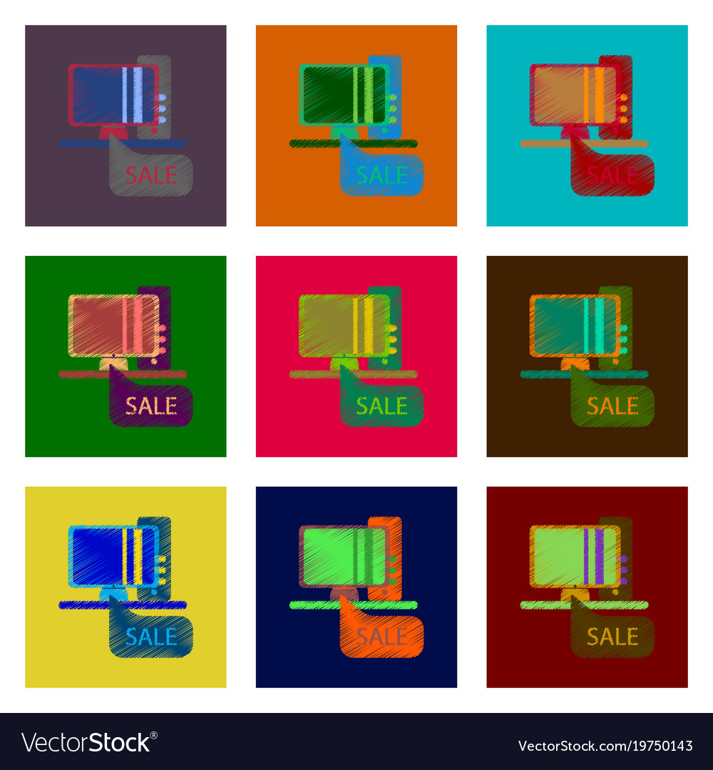 Assembly of flat shading style icon computer sale