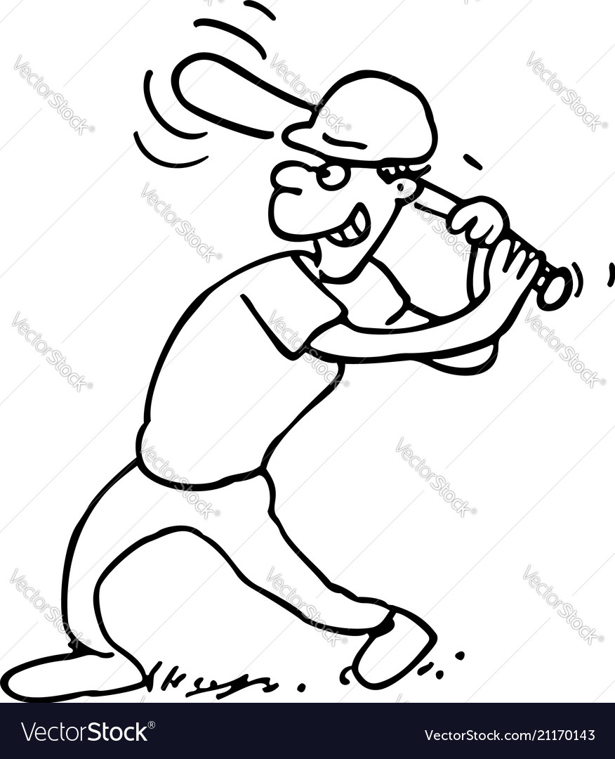 Baseball players outlined cartoon on a white