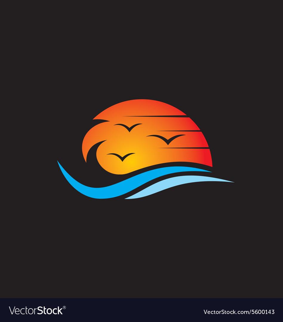 Beach sunset abstract logo