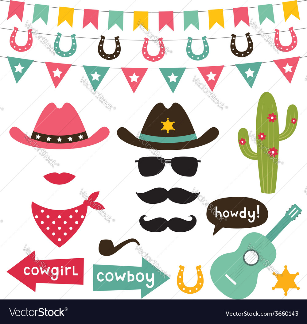 Cowboy design elements set vector image