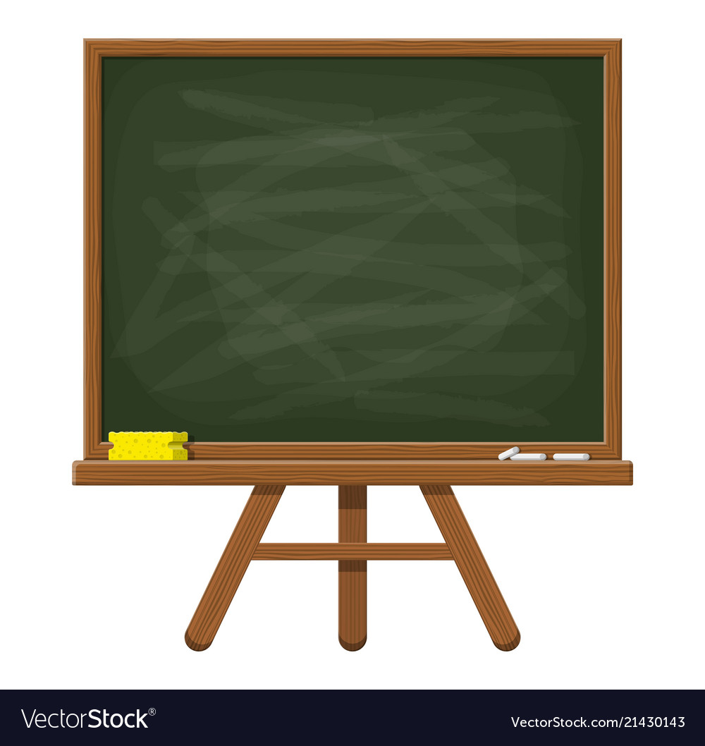 Empty green chalkboard with wooden frame