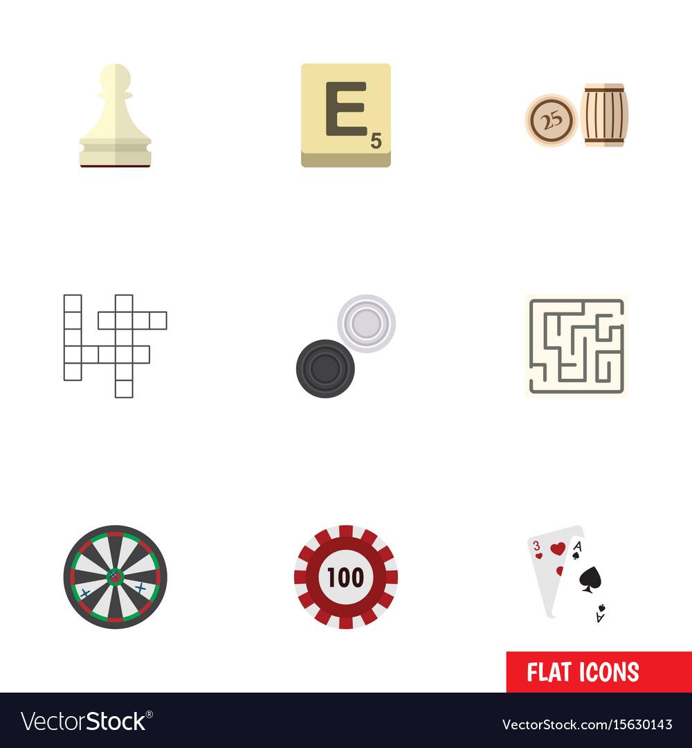 Flat icon games set of lottery mahjong labyrinth