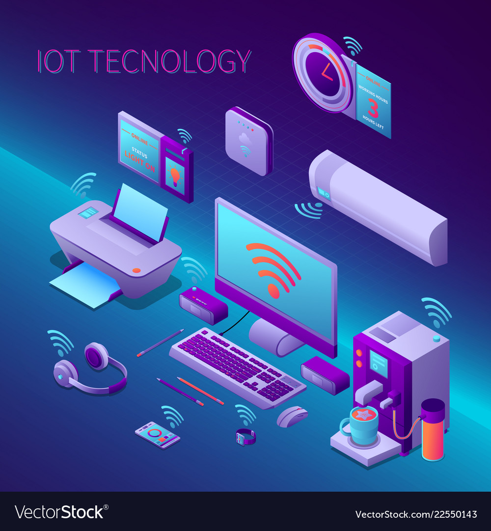 Iot technology isometric composition