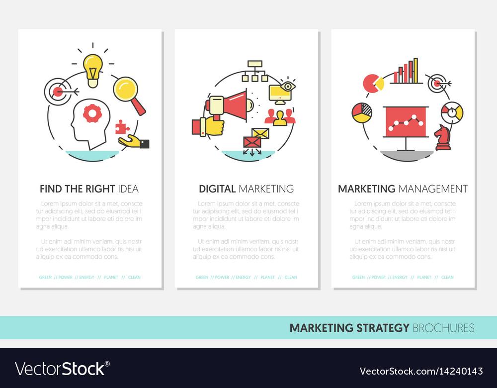 Marketing Business Brochure Template Linear Vector Image - Marketing brochure templates