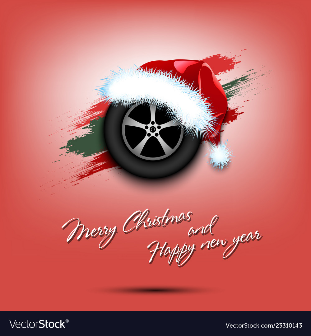 e5ae799899cc6 New year and wheel car in santa hat Royalty Free Vector
