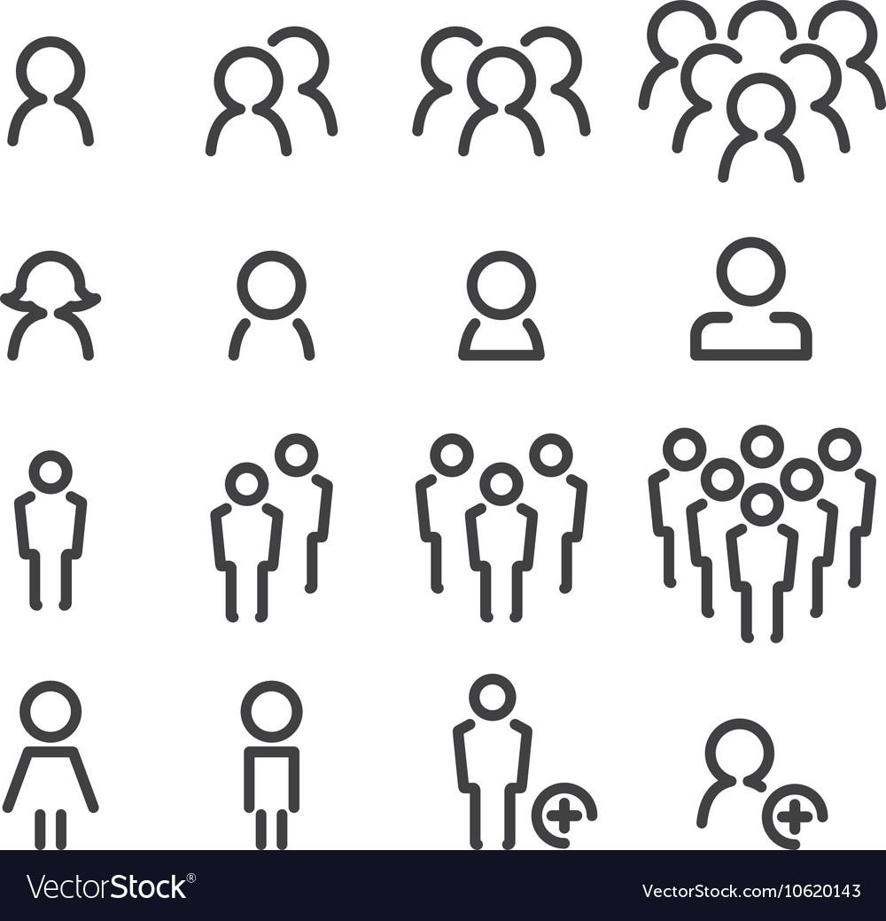 People line icon set vector image