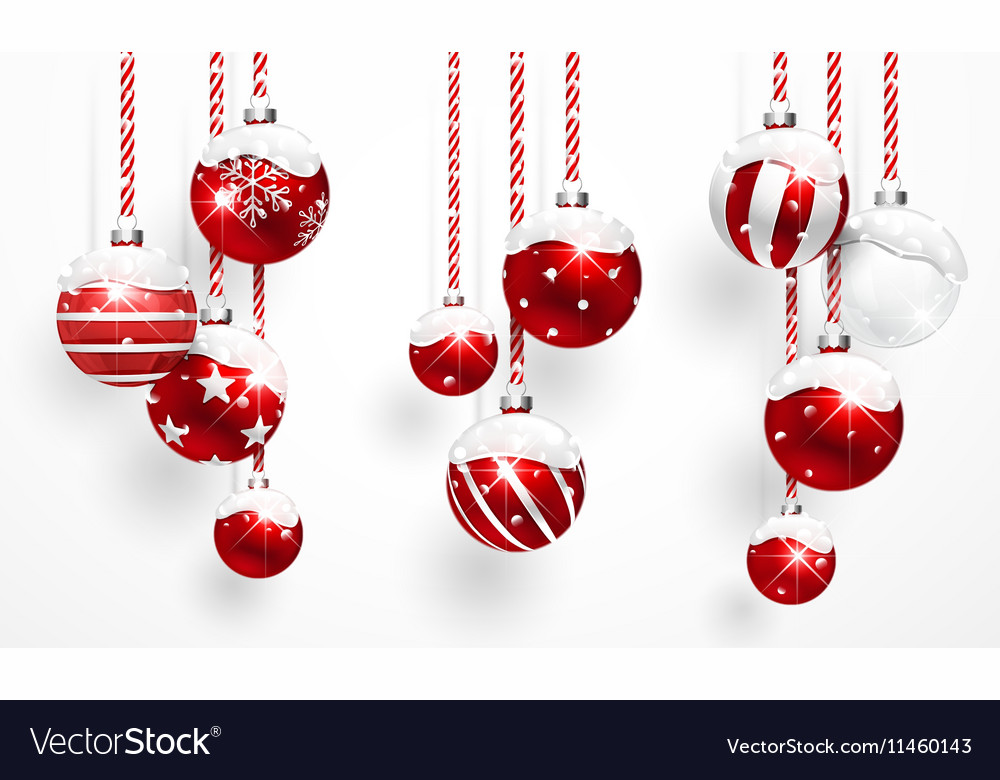Red Christmas Balls with Snow vector image