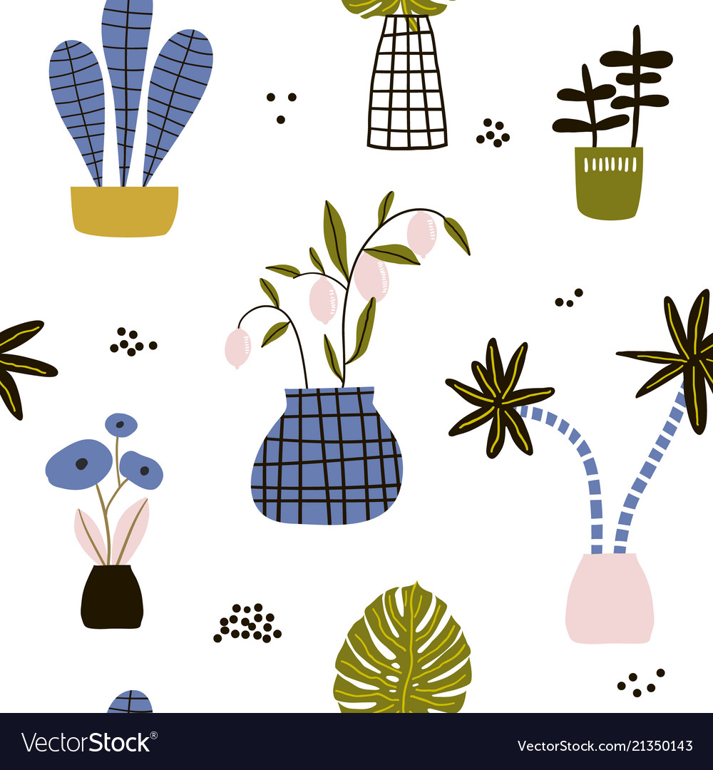 Seamless pattern with flowerspalm branch leaves