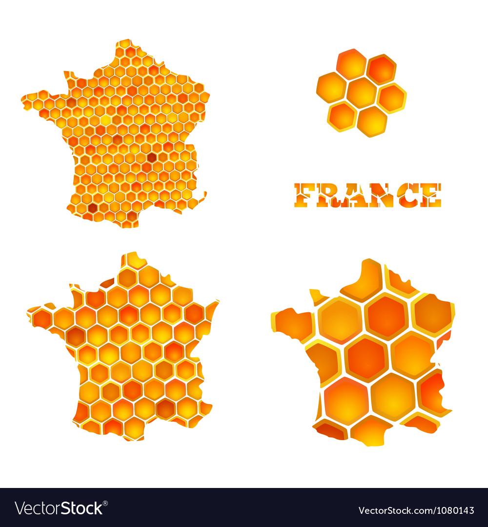 Set of map icons of France with honey cells