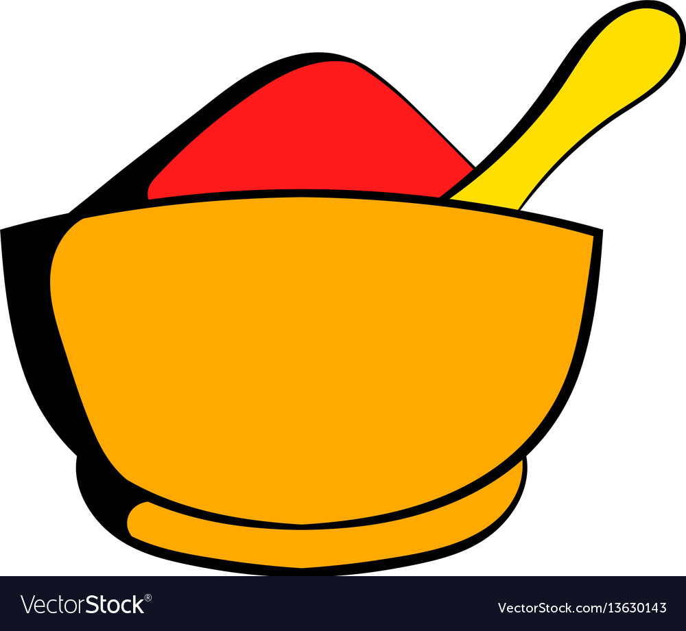 Spice in ceramic bowl icon cartoon