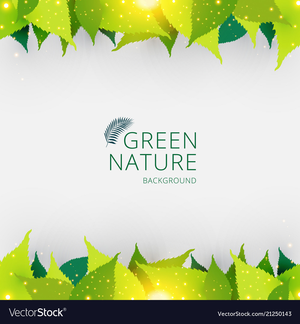 Template header or footer green leaves nature