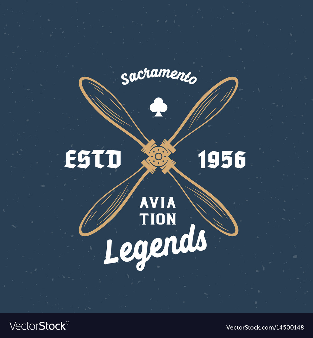 Aviation legends airplane retro label sign