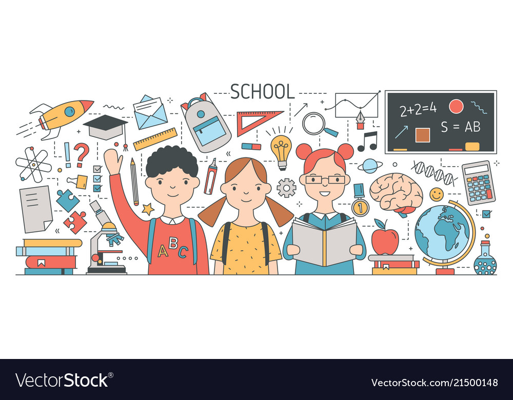 Back to school banner with cute happy children or