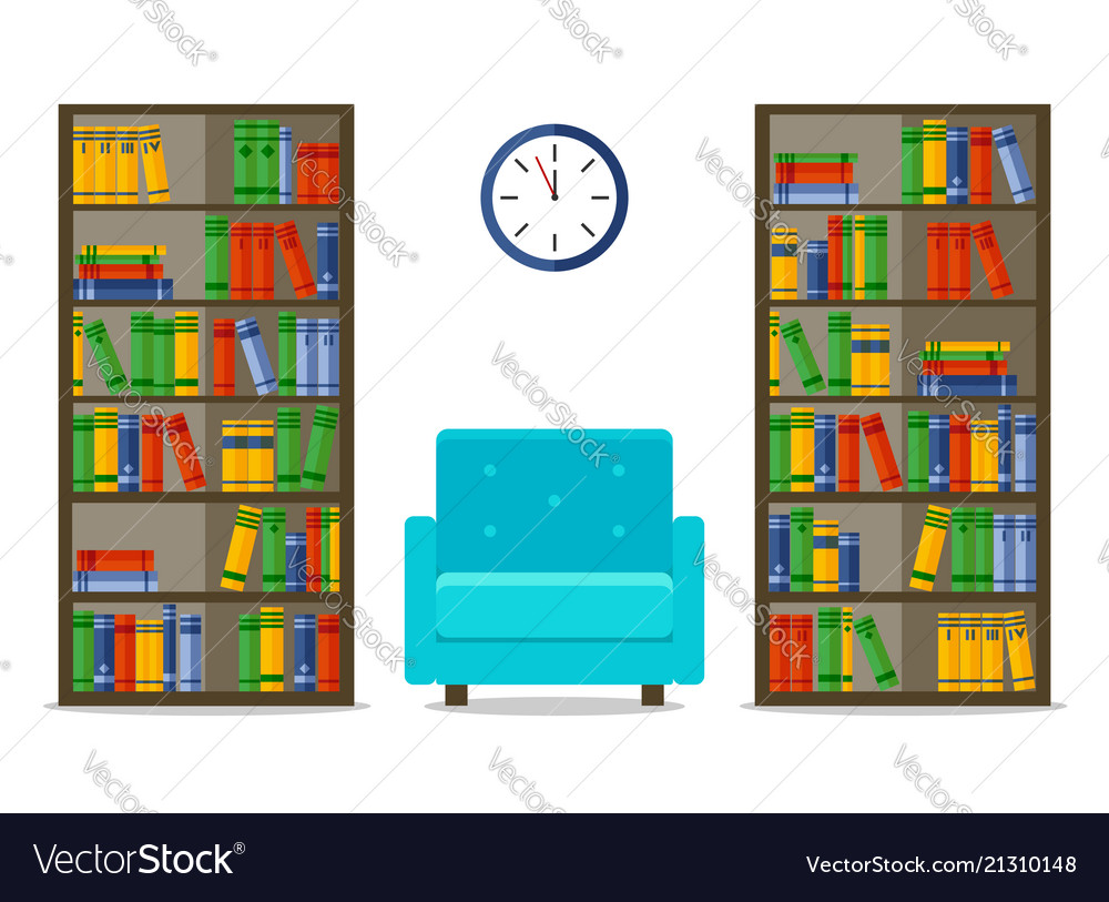 Bookcases and armchair interior