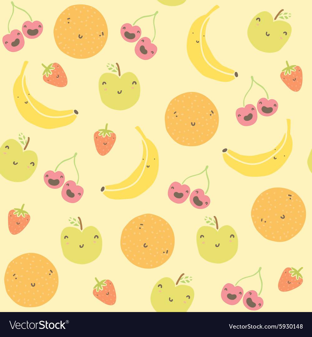 Cartoon funny fruits seamless pattern