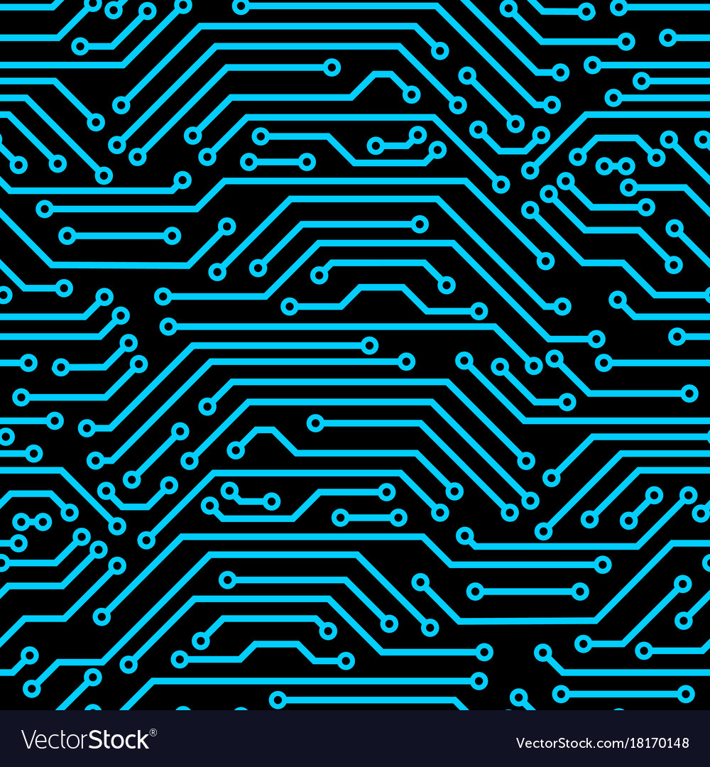 Circuit Board Seamless Pattern Background Of Vector Image Circuitboard