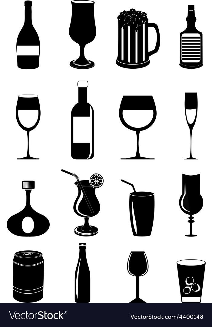 Drink glasses icons set