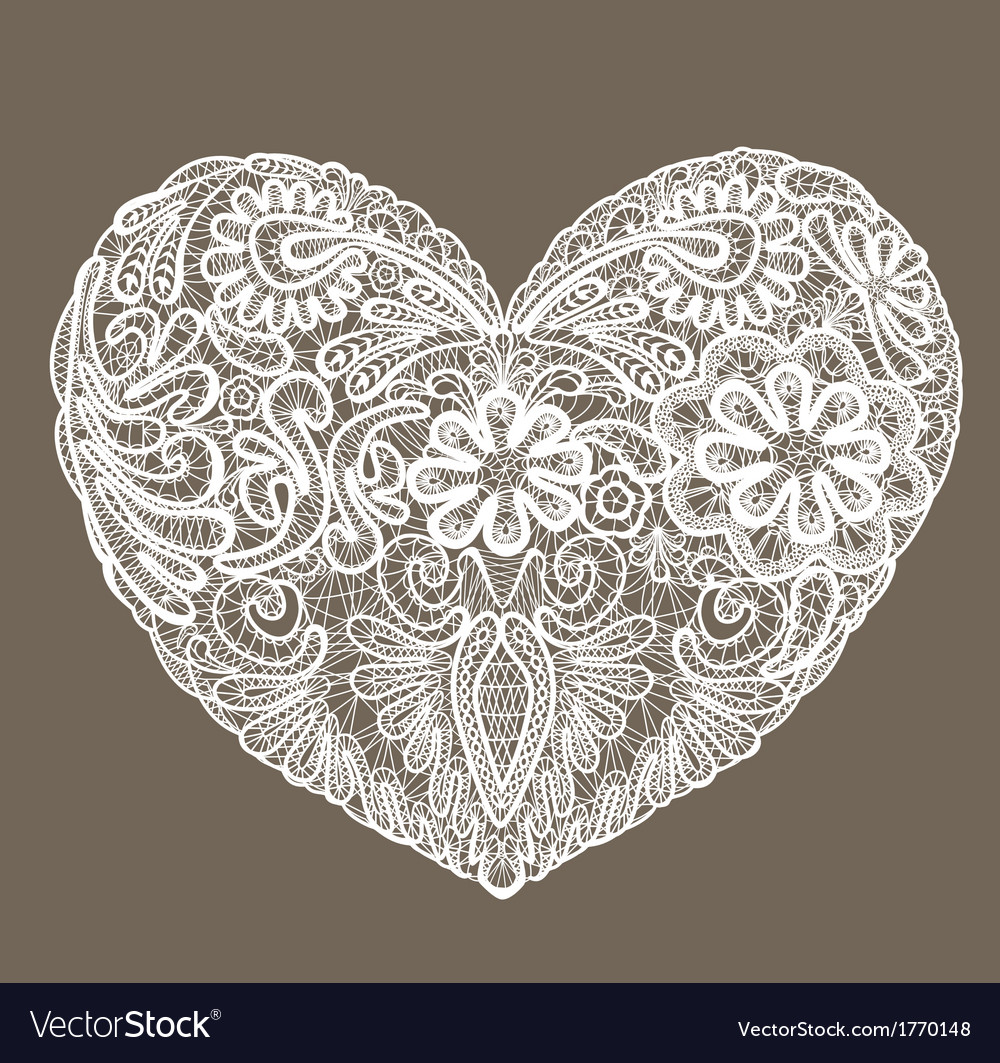 Heart shape is made of lace doily element for Vale