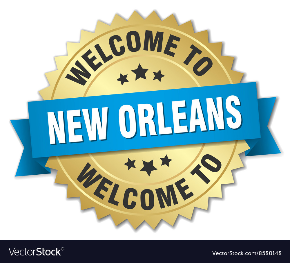 New Orleans 3d gold badge with blue ribbon vector image