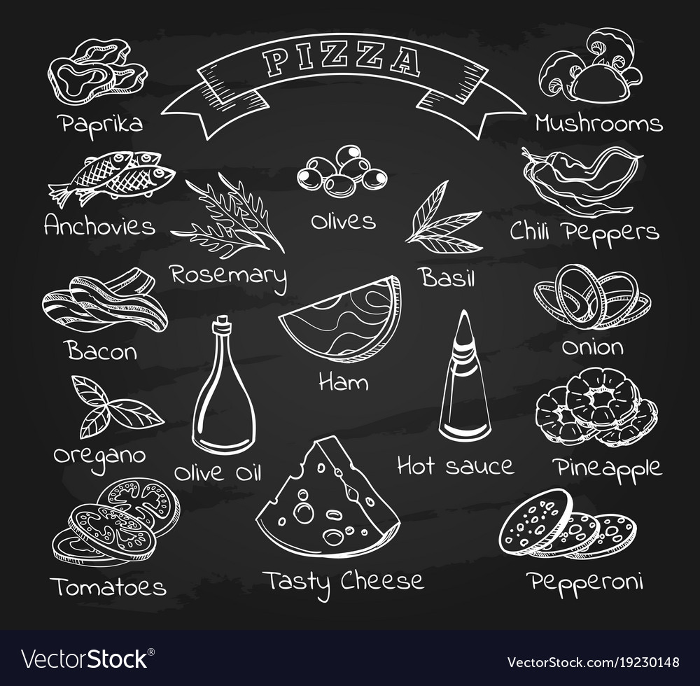 pizza ingredients set on chalkboard royalty free vector