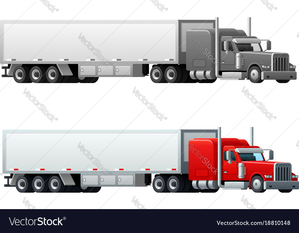 Trailer truck long vehicle isolated icons