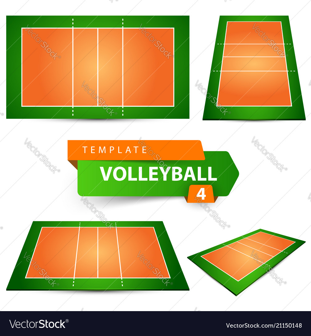 Volleyball court four items template