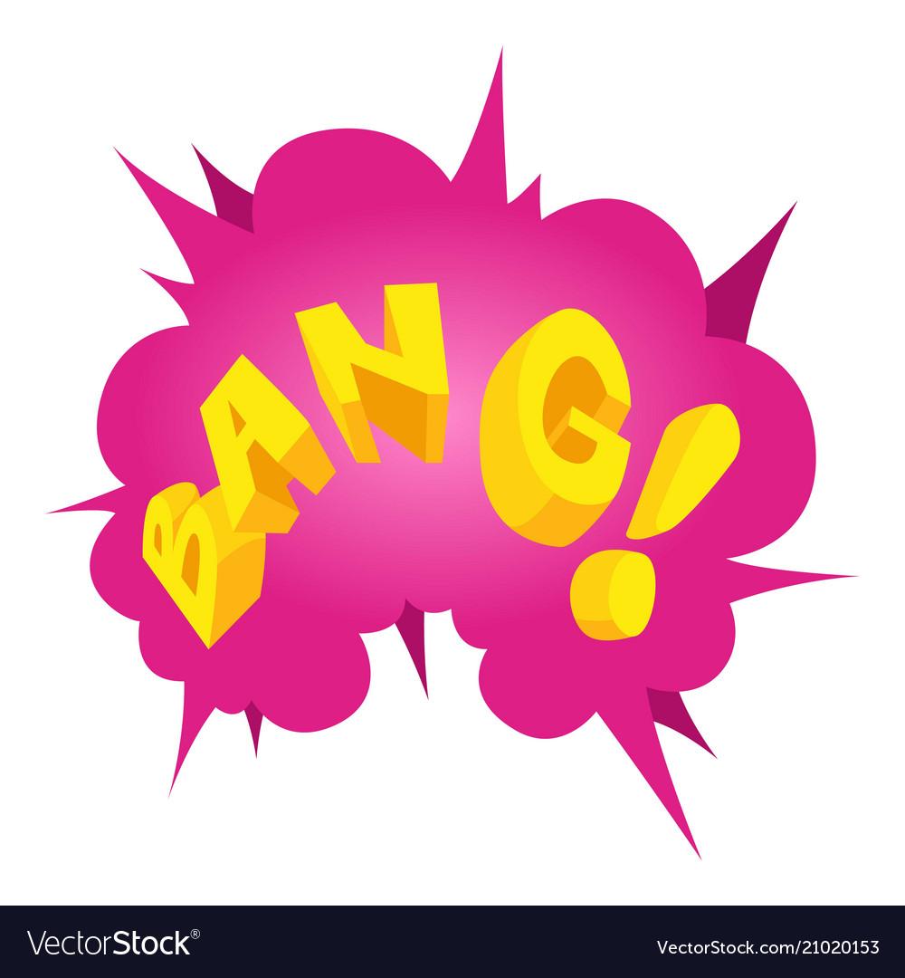 Bang speech bubble icon isometric style