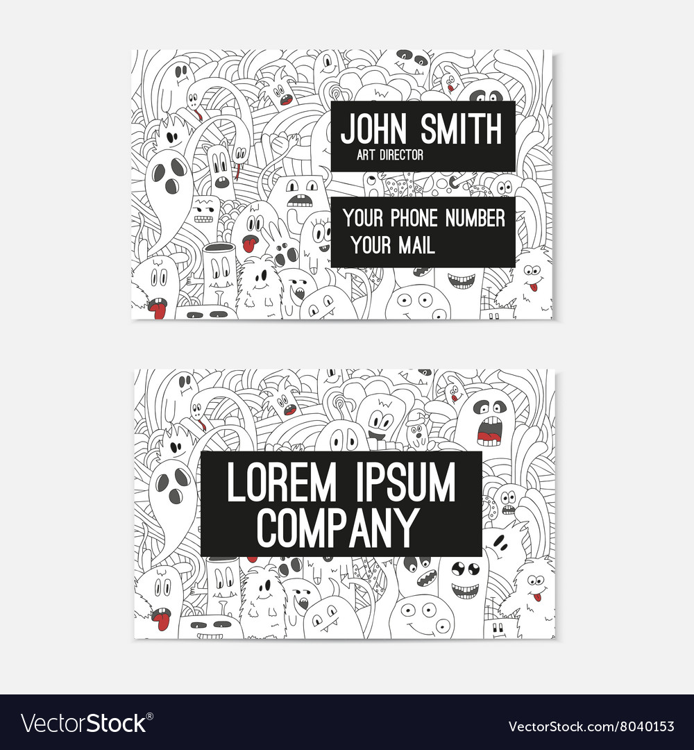Business card template whit funny doodle monsters vector image cheaphphosting Images