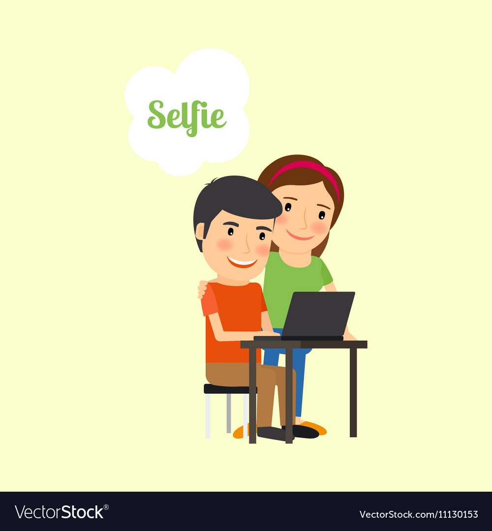 Cartoon couple taking selfie