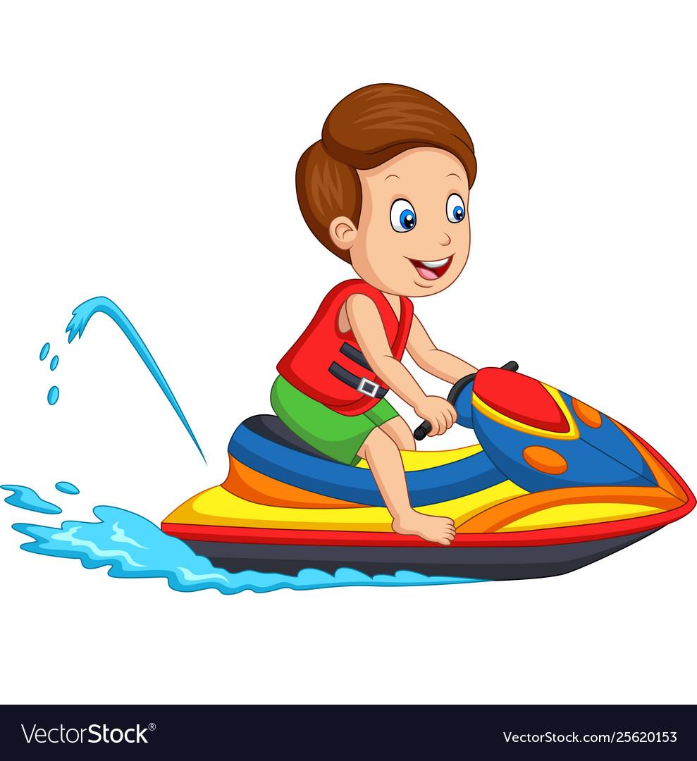 Cartoon Little Boy Rides A Jet Ski Royalty Free Vector Image