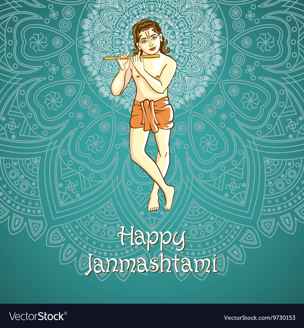 Cartoon of Lord Krishana in Happy