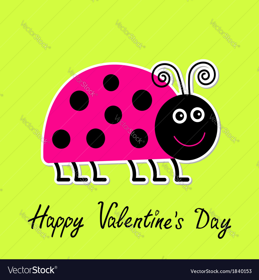 Cartoon Pink Lady Bug Happy Valentines Day Vector Image