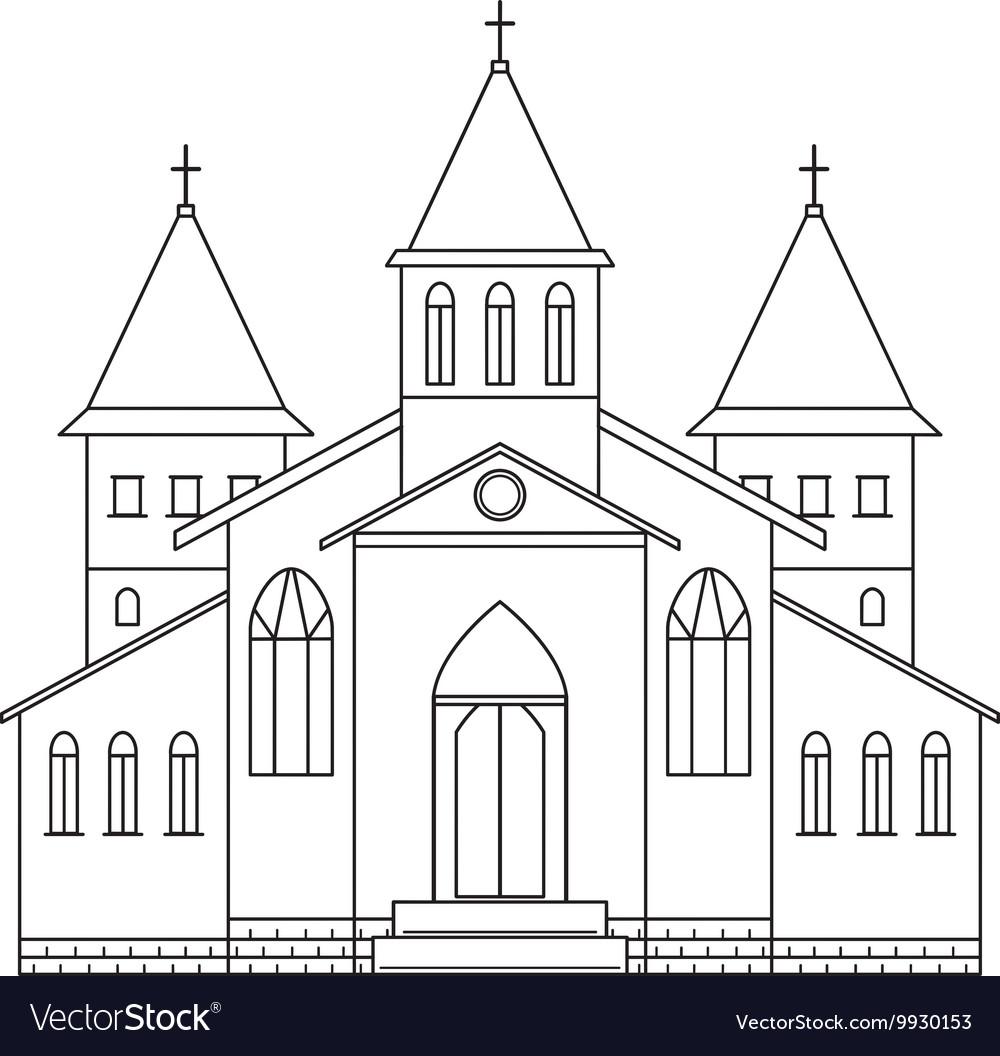 Church building line art style vector image