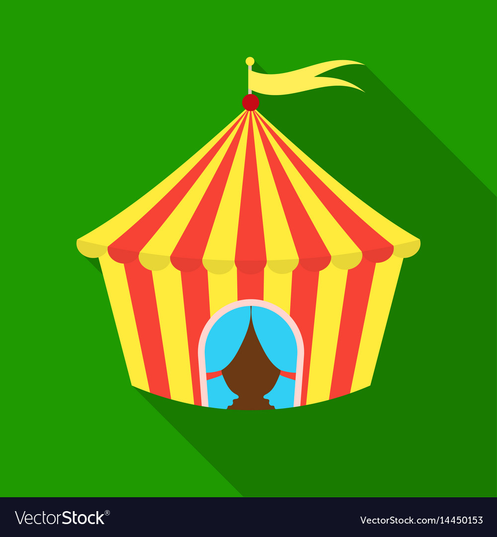 Circus tent icon in flat style isolated on white vector image