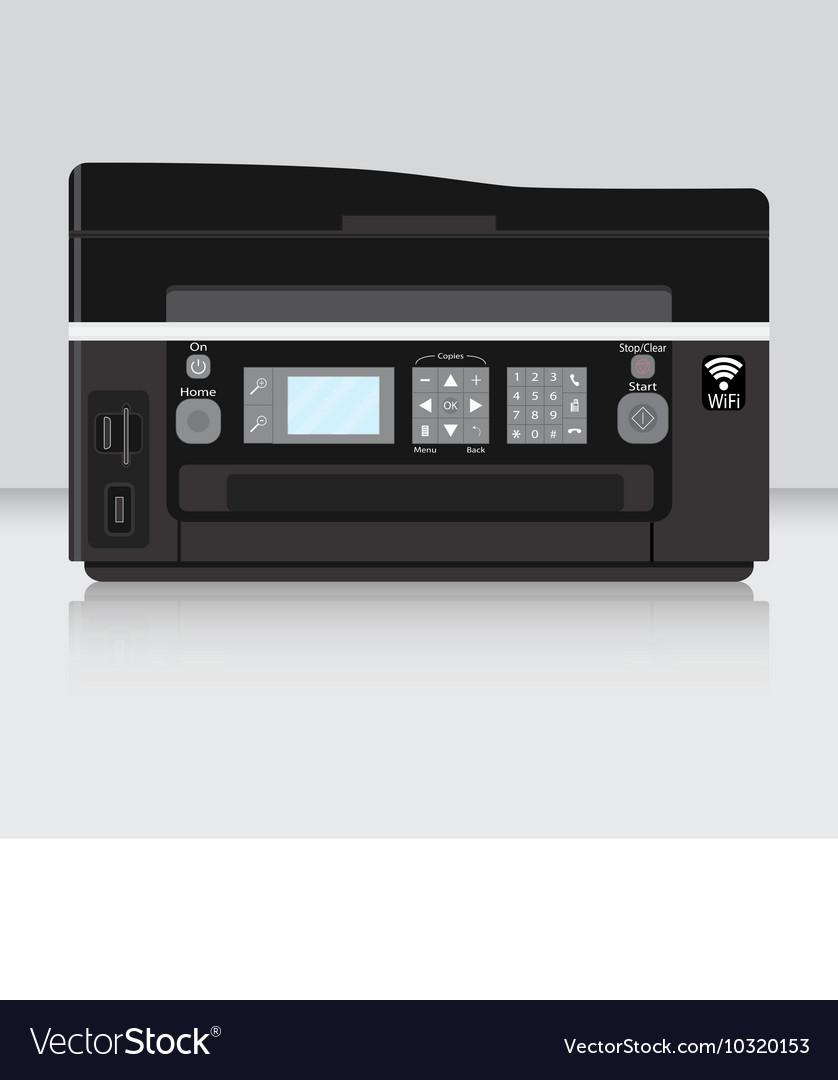 Copier and computer printer flat vector image