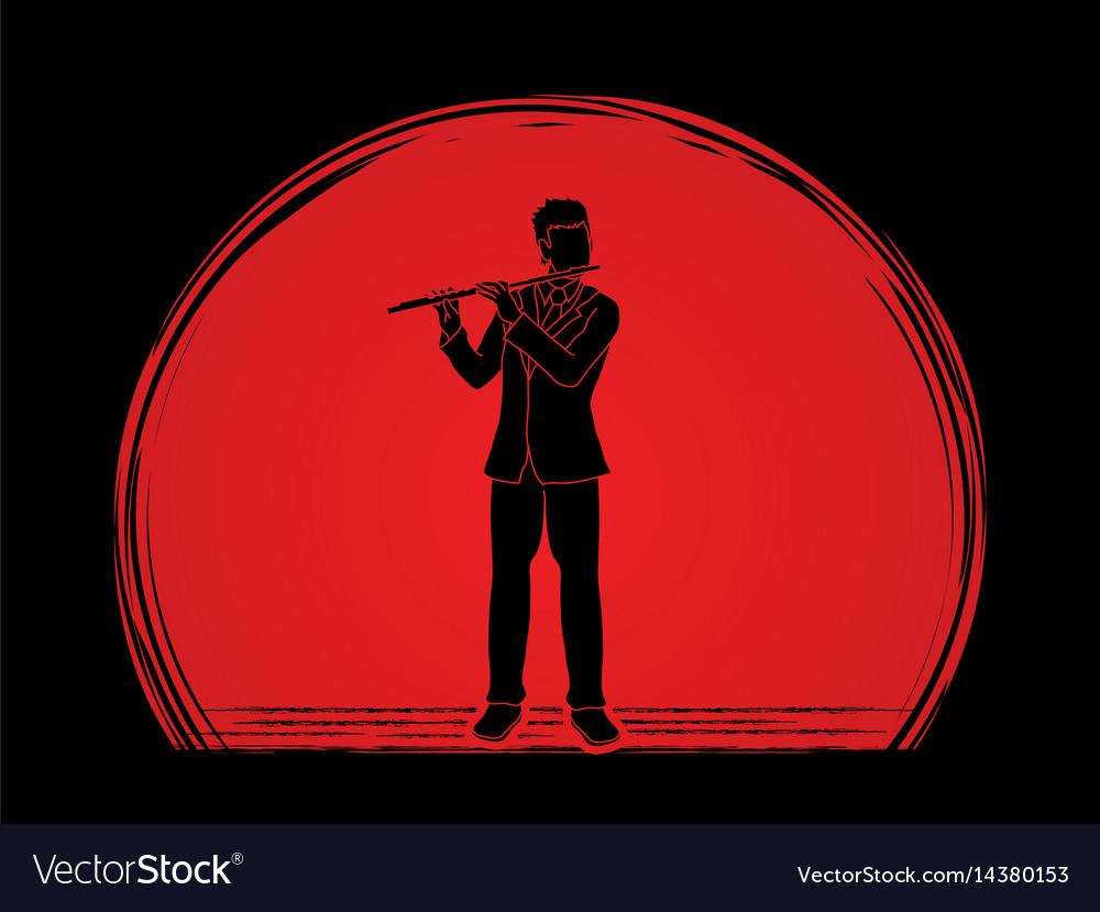 Flutist player a man play flute classic music