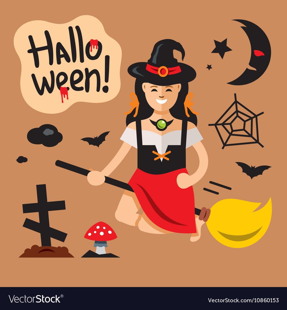 Halloween Witch on broomstick Cartoon