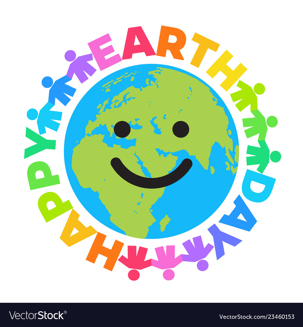 Happy earth day poster bright greeting text