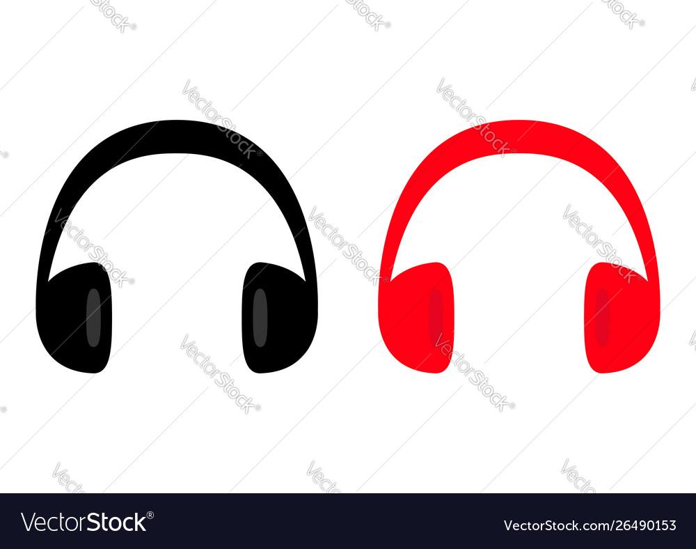 Headphones earphones icon set black and red