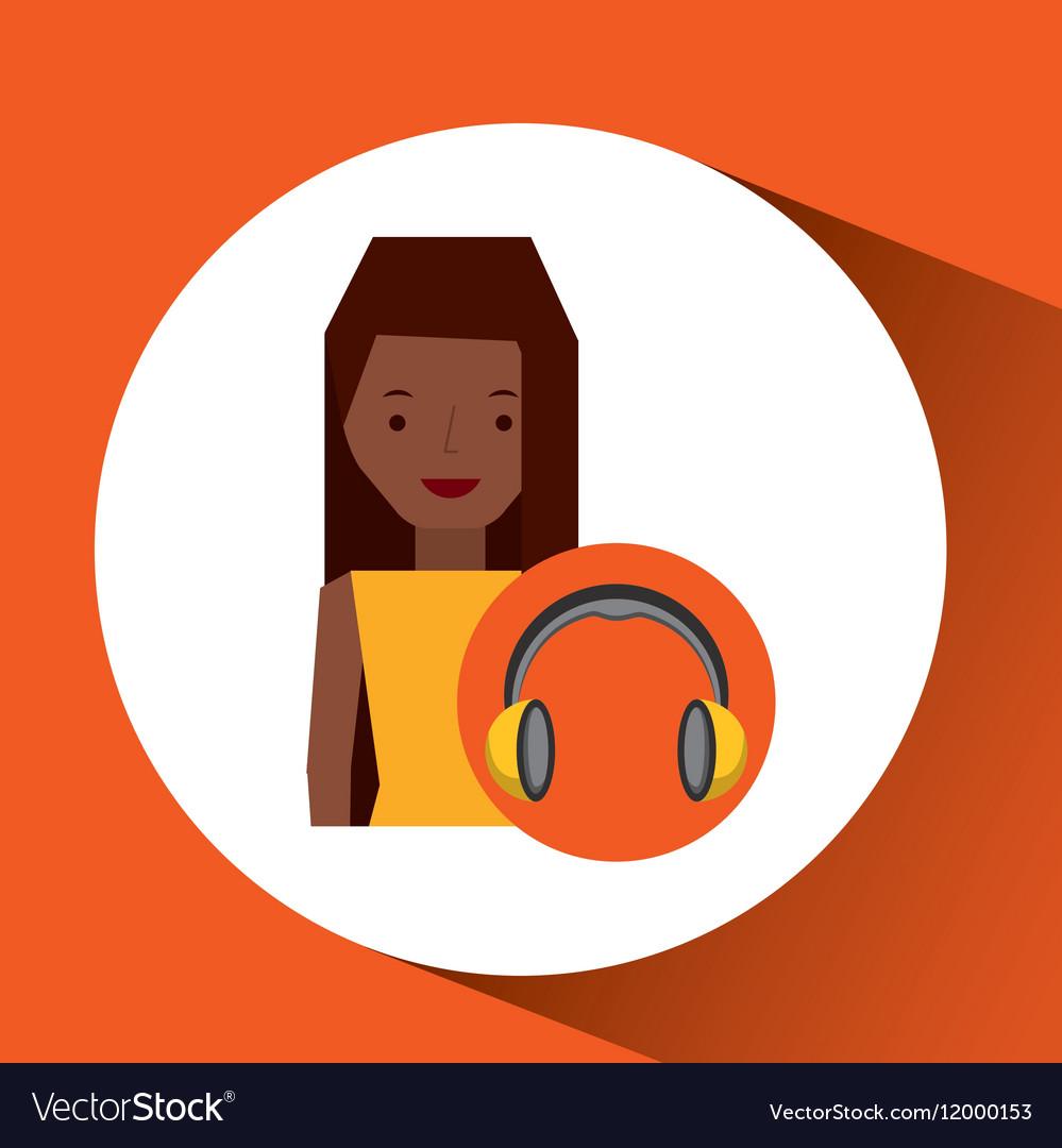Headphones music character girl afro