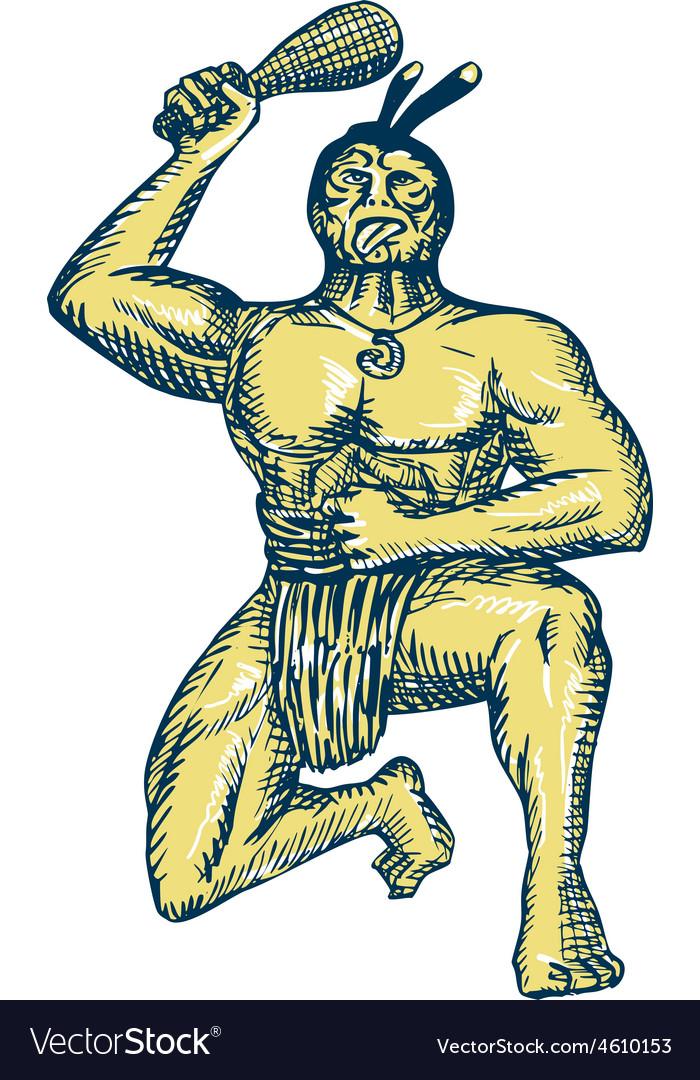 Maori Warrior Wielding Patu Kneeling Etching
