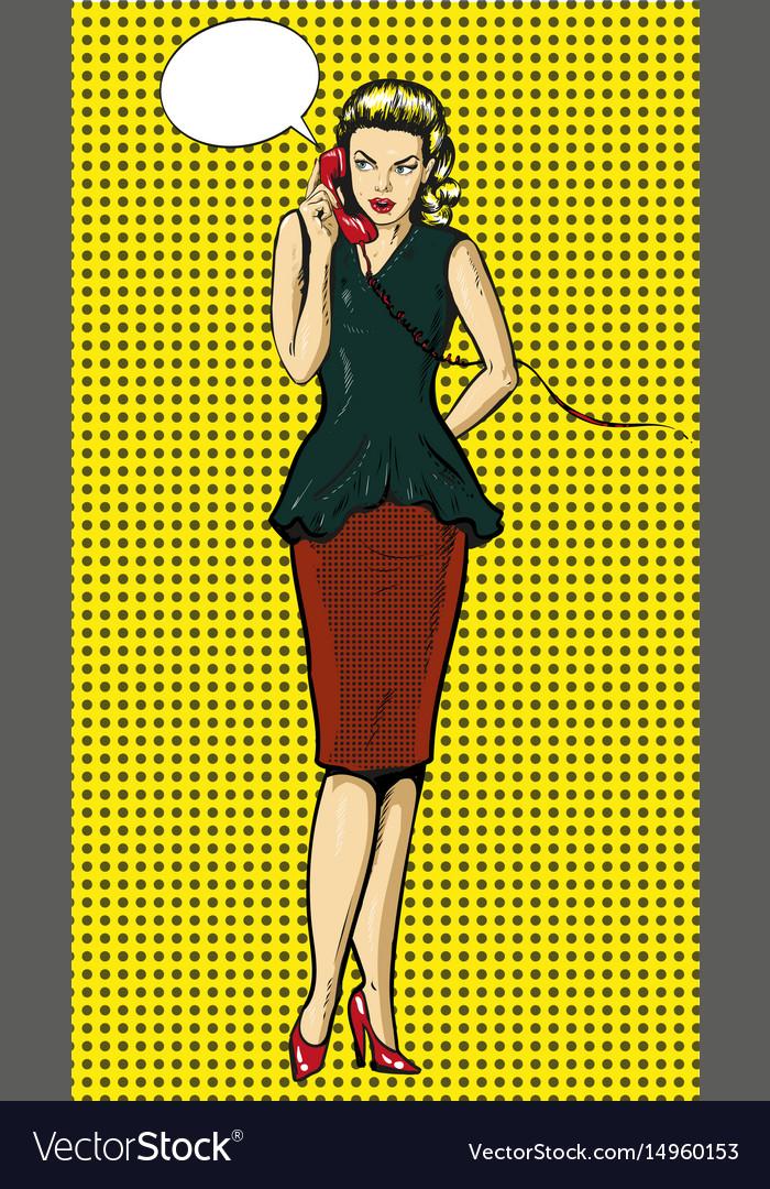 Pop art of woman talking on
