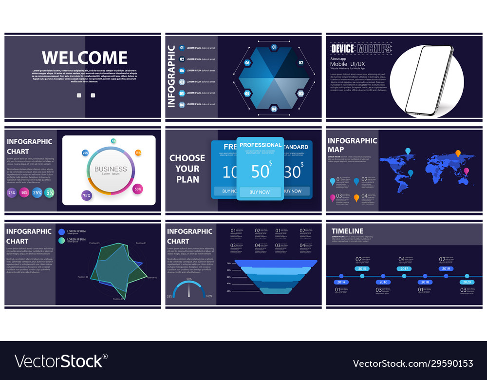 Presentation template blue and black infographic