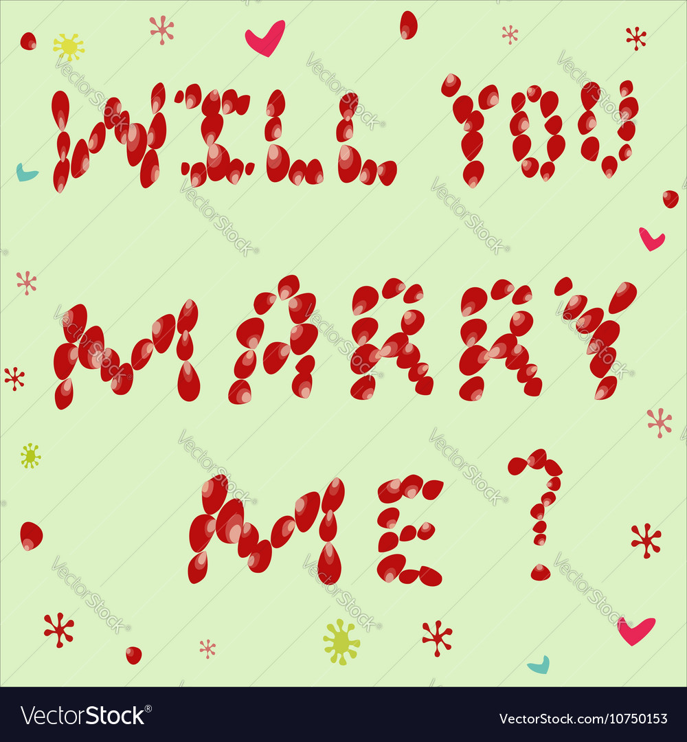 Proposal to marry him of rose petals on a green vector image