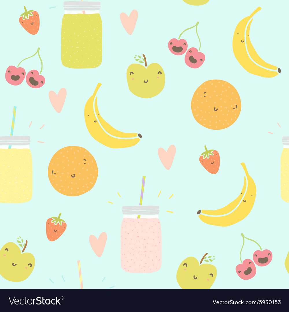 Seamless pattern with smoothie jars and funny