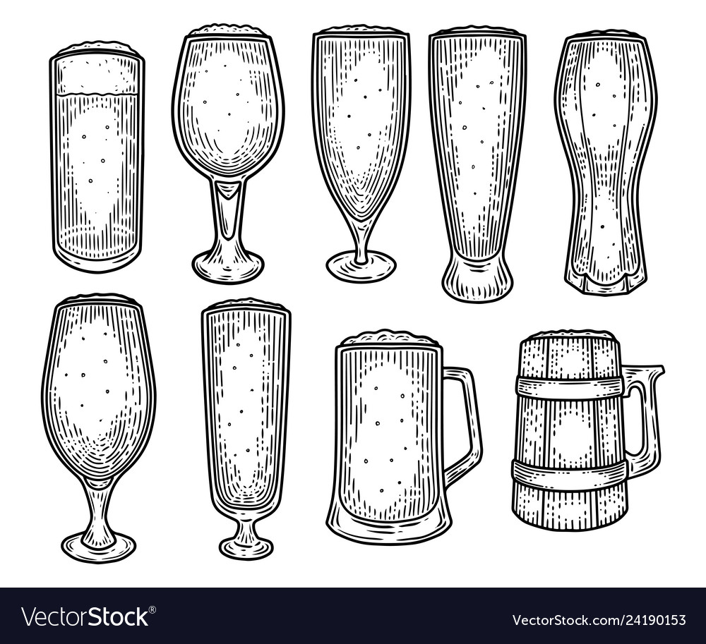 Sketch beer mug or jug cup or goblet tankard vector