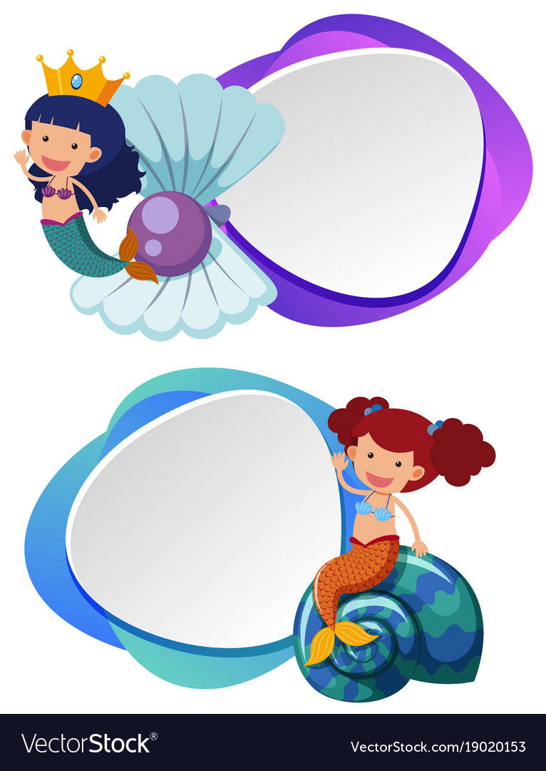 two border templates with cute mermaid royalty free vector